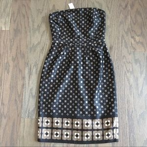 Banana Republic Black Strapless geometric dress
